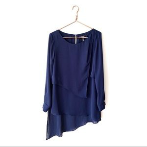 WHBM | Navy Asymmetric Hem Layered Tunic 12